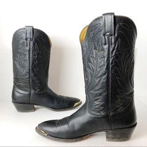 Nocona Black Leather Cowboy Boots Mens Western